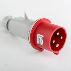 IDE 03105 Clavija aérea IP44 3 polos + tierra 380V 32A 6h de color rojo