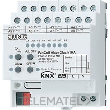JUNG FCA2REGHE Actuador KNX fan-coil 2 canales DIN 4 módulos