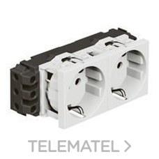 LEGRAND 077602 Toma 2x2P + TT lateral MOSAIC-II blanco