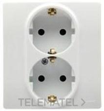 LEGRAND 664543 Toma doble NILOE 2P + TT automático protección inferior blanco